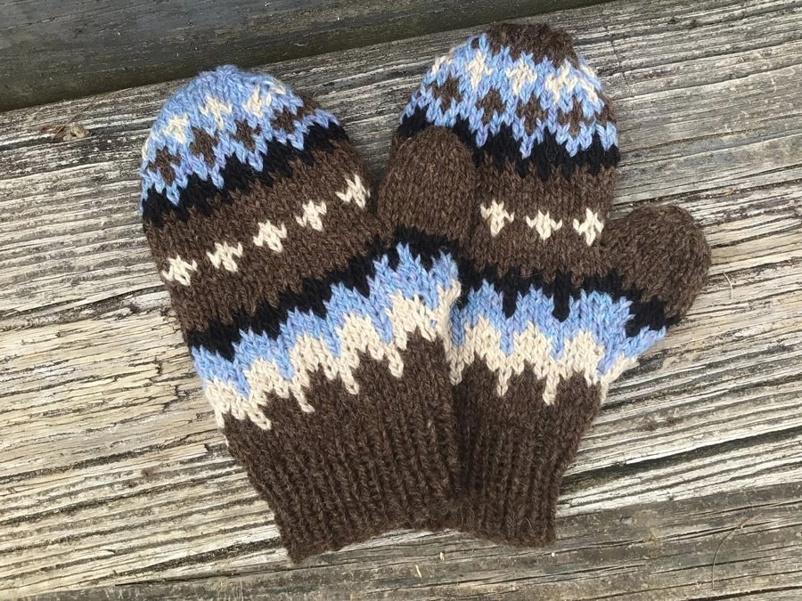 Hand-knitted Bernie Mittens