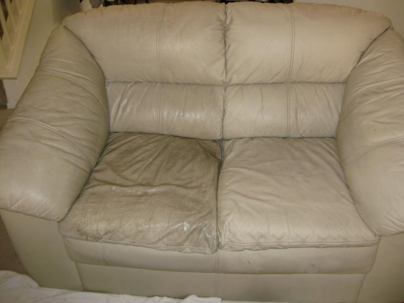 pu leather sofa repair small sectional sleeper with chaise how to prevent cracked fibrenew couch half cleaned
