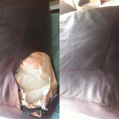 Repair Leather Sofa Cushion Beds At Harveys Photo: Dog Bite On Aged - Fibrenew Tampa