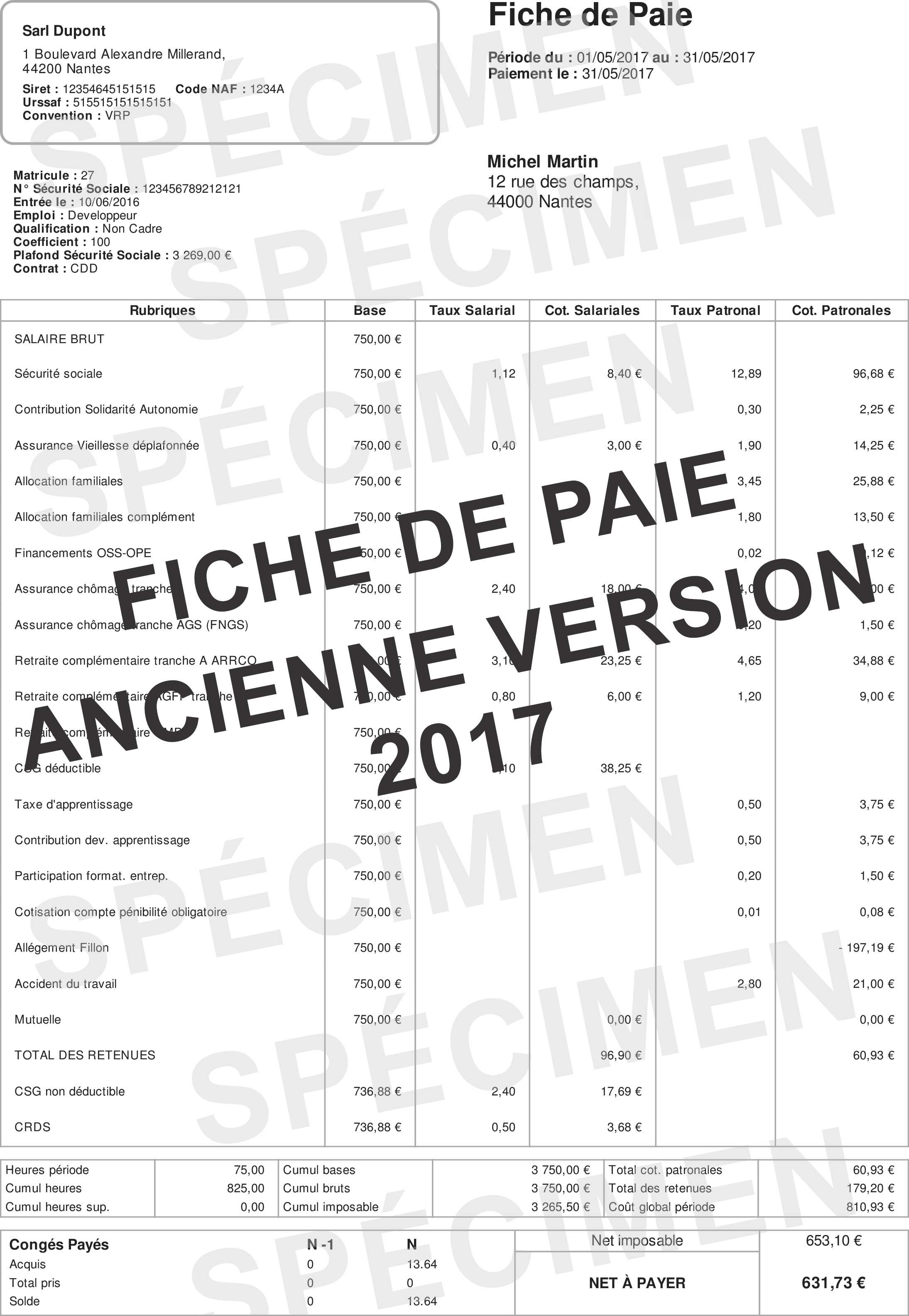 Fiche De Paie 2018 Le Bulletin De Paie Simplifié Fiche