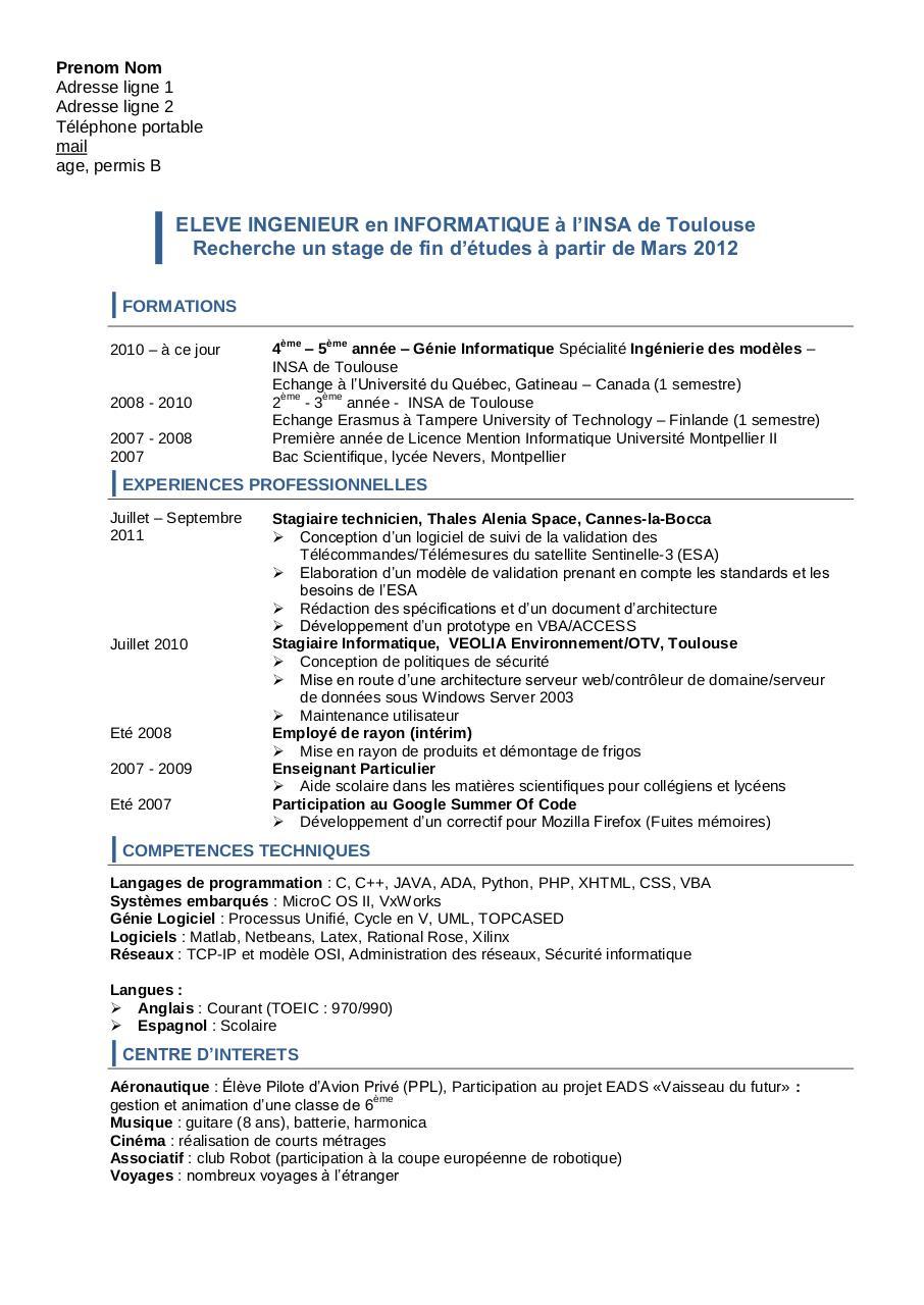 cv pdf en anglais