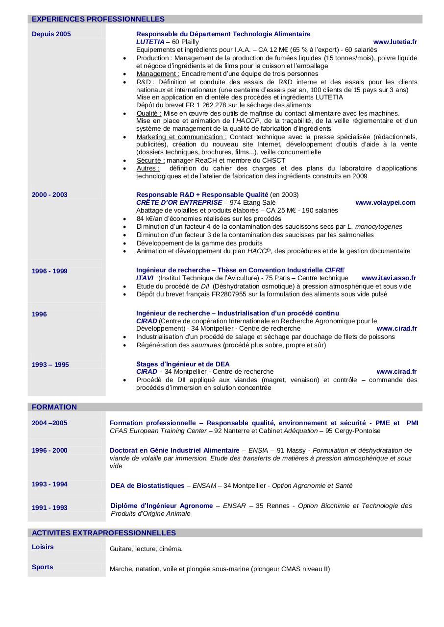 modele cv consultant reglementation