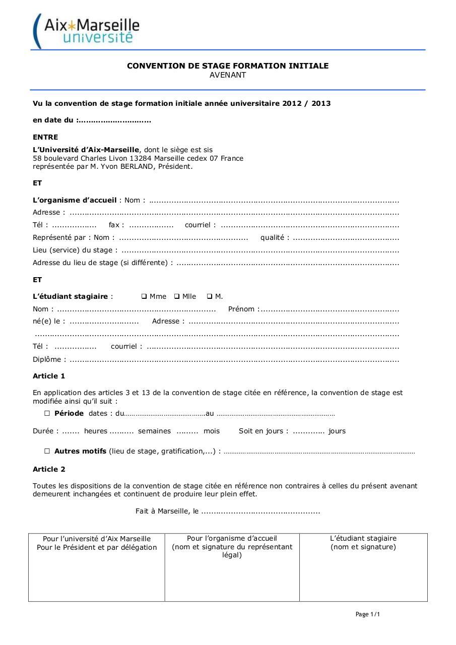Avenant Type Convention De Stage AMU 2012 2013 Fichier PDF