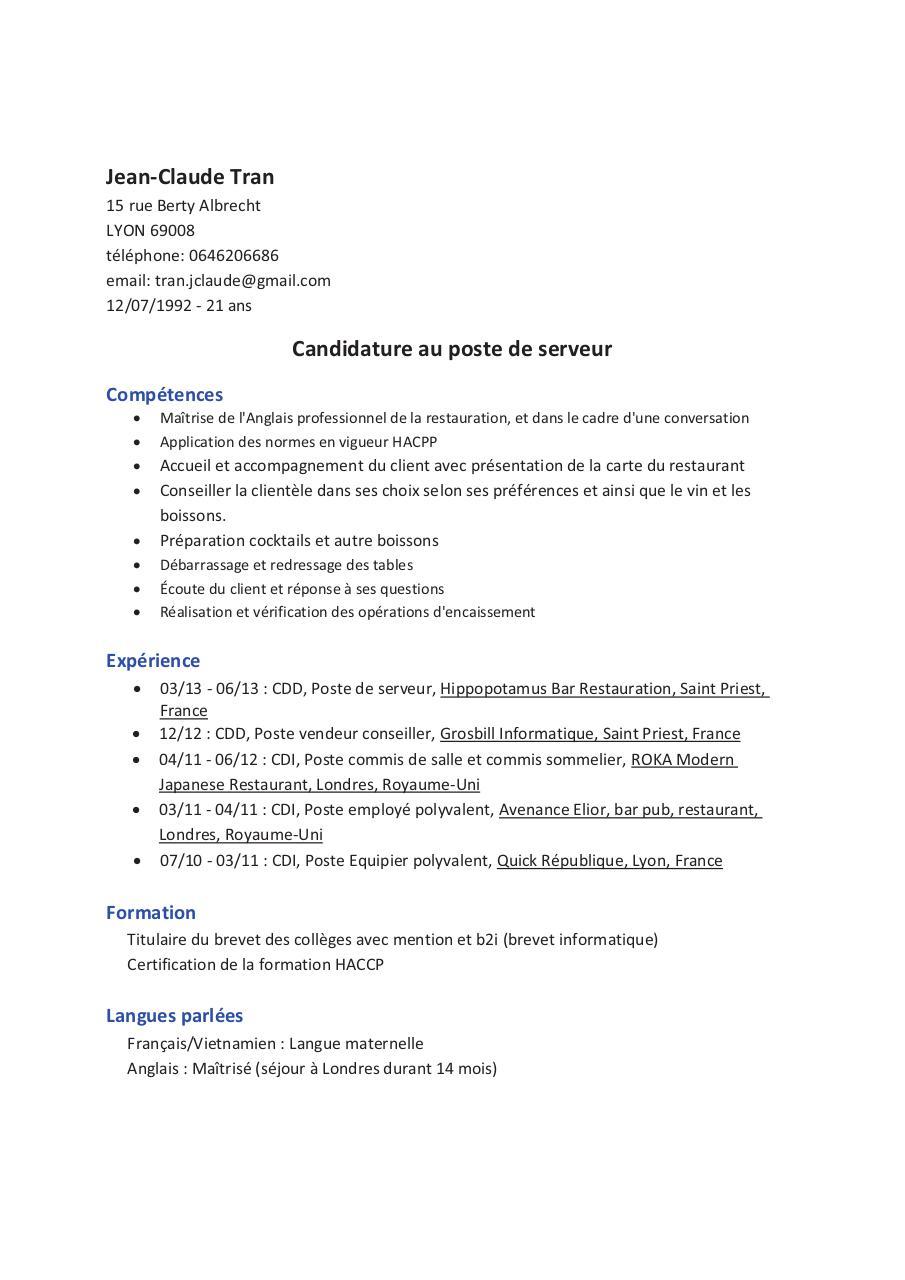 CV 07 26 JC serveur par Neji  Fichier PDF