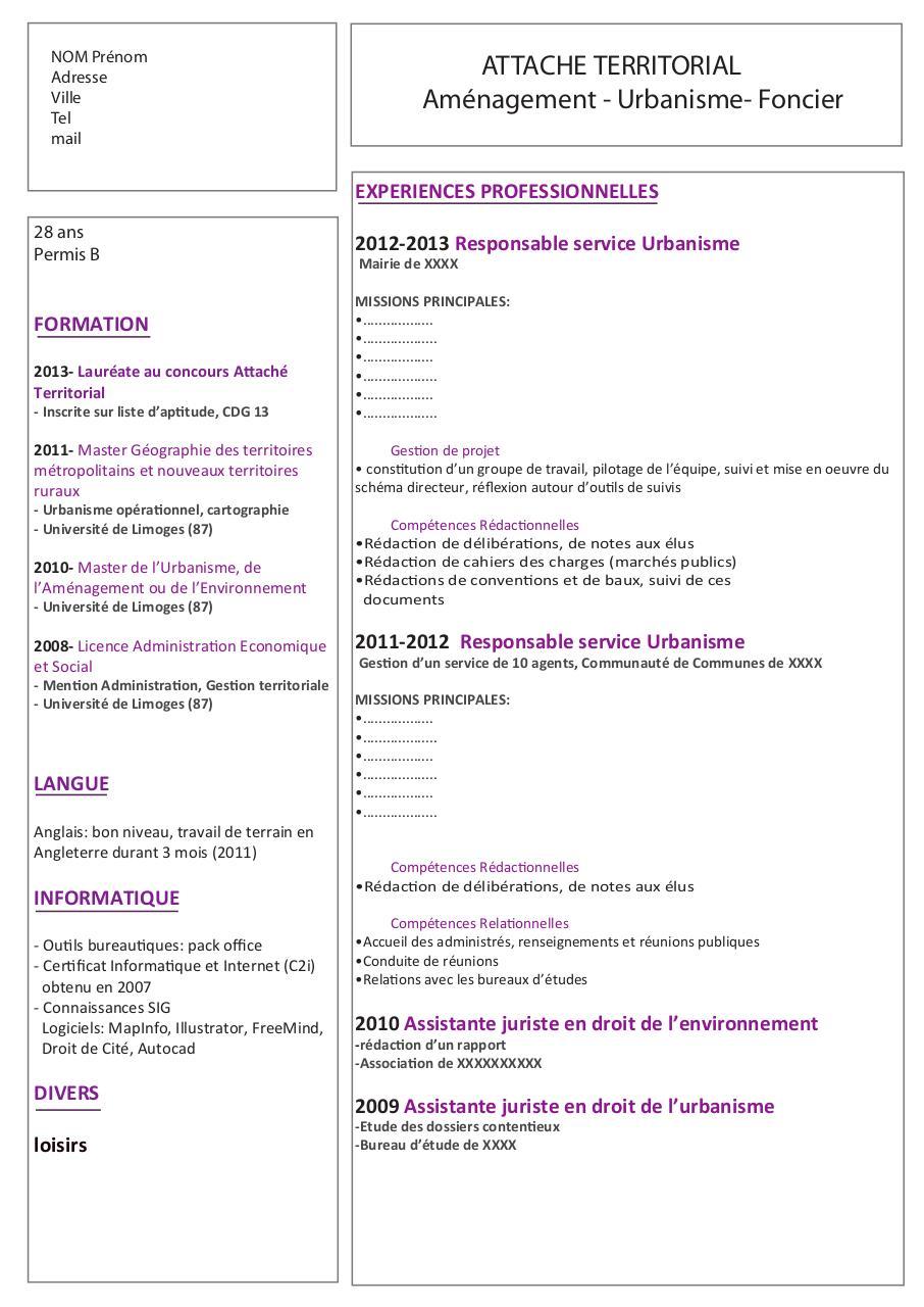cv pour admission universite
