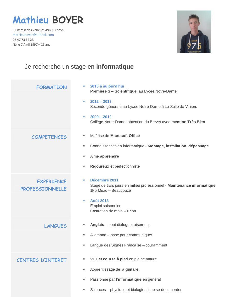 cv master informatique pdf