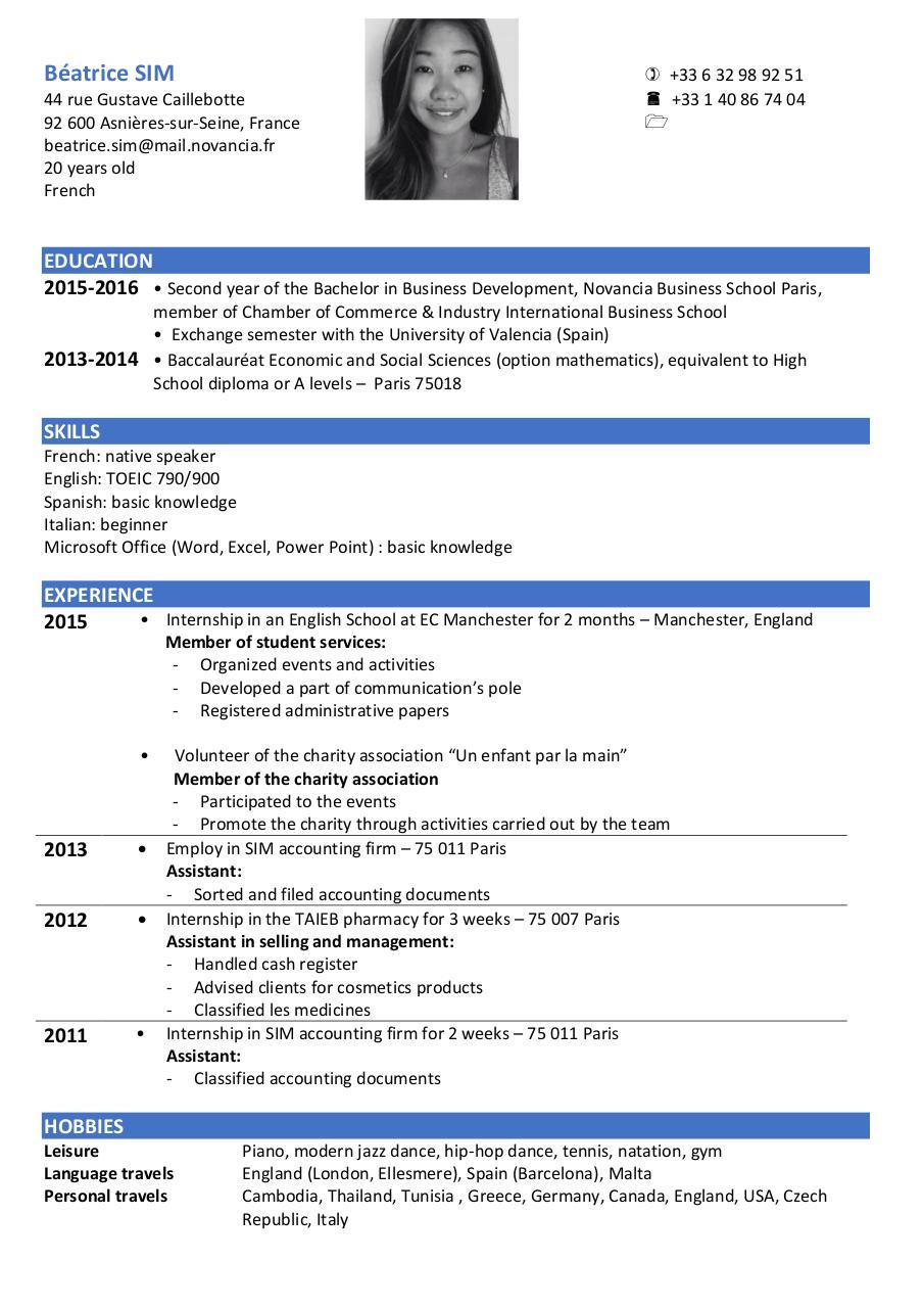 CV Officiel 2015 2016 English 2 Fichier PDF