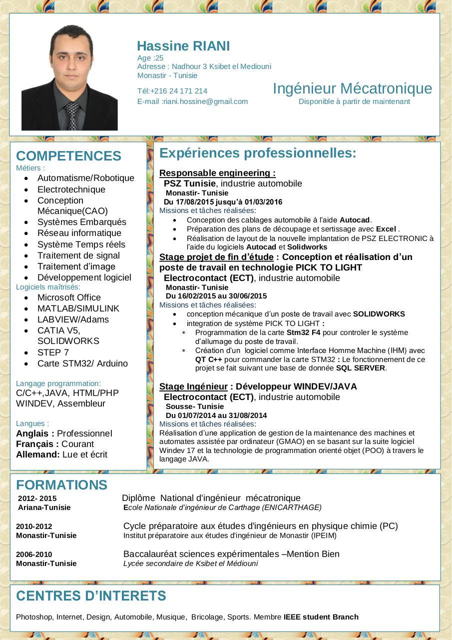 cv ingenieur automaticien pdf