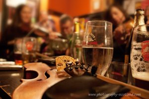 Informal folk music session in Edinburgh