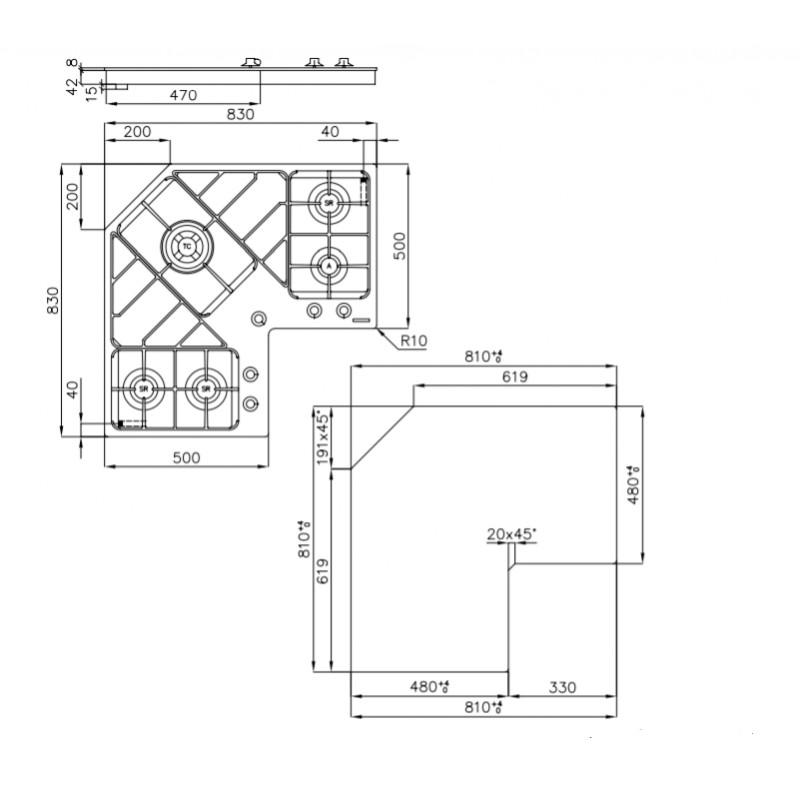 Foster piano cottura angolare da incasso 90 cm 7038052
