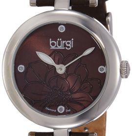 Burgi Women's BUR128BR Round Brown Sunburst Effect Dial with Embossed Flower Qua