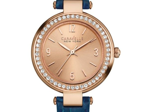 Caravelle New York Rose Gold Mini T Bar Women's Quartz Watch with Rose Gold Dial