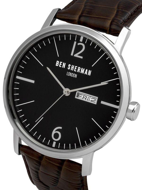 Ben Sherman Men's Quartz Watch with Black Dial Analogue Display & Brown Leather 3