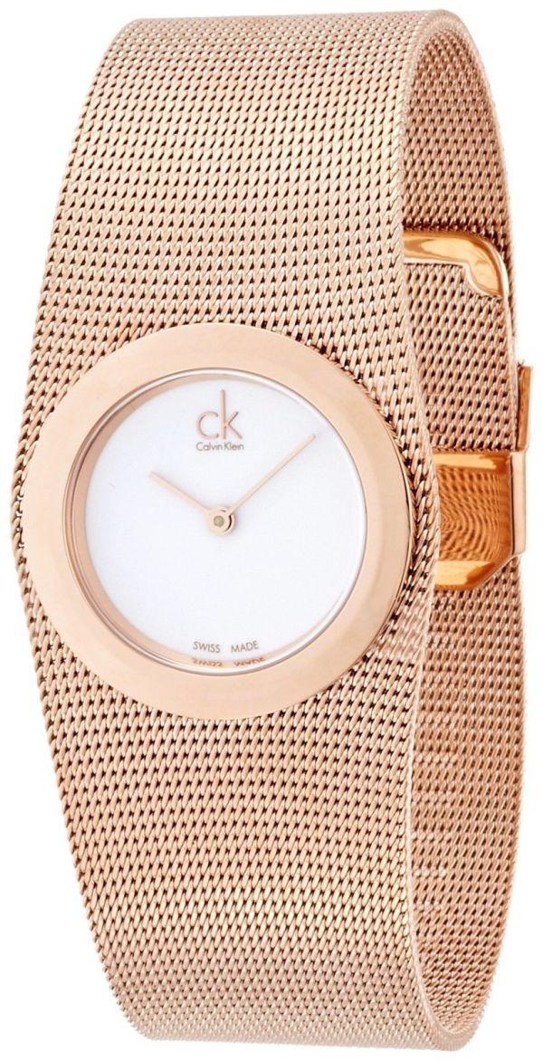 Calvin Klein White Dial Rose Gold-tone Mesh Ladies Watch