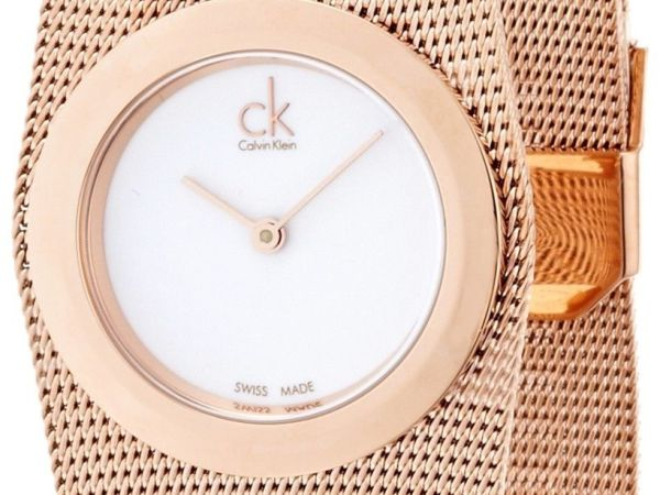 Calvin Klein White Dial Rose Gold-tone Mesh Ladies Watch