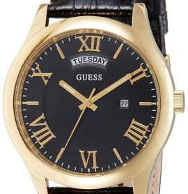 Guess (GVSS5) Men's Quartz Watch with Black Dial Analogue Display and Black Leat