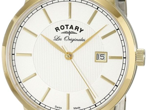 Rotary Men's Quartz White Dial Analogue Display and Multi-Colour Stainless Steel