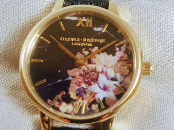 Ladies OLIVIA BURTON Marble Floral Black Gold Floral Watch OB16CS11