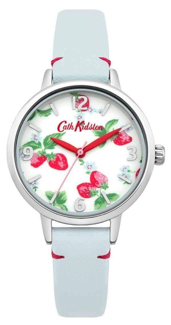 Ladies Cath Kidston Strawberries Light Blue Leather Strap Watch CKL006WUS