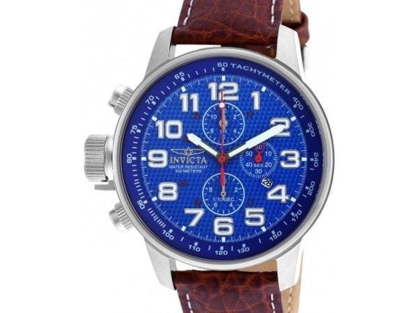 Invicta 90066 Men I-Force Brown Leather Chronograph Watch
