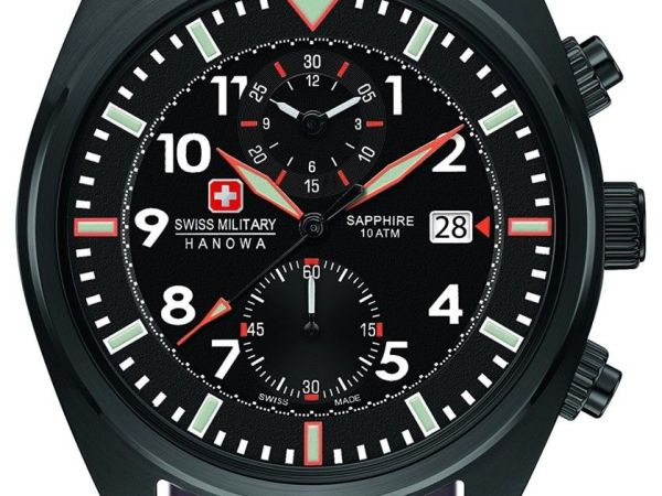 Swiss Military Men's SM34302AEU/H03S Quartz Watch Black Display Leather Strap