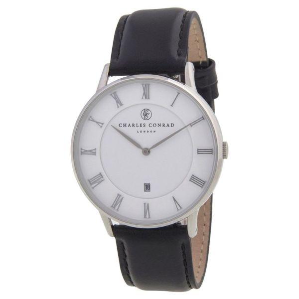 Charles Conrad CC01000 Watch - Classic Elegant Design, Genuine Leather Band