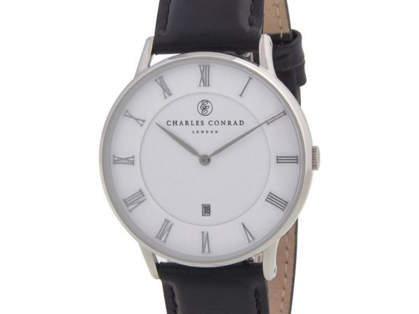 Charles Conrad CC01000 Watch - Classic Elegant Design, Genuine Leather Band