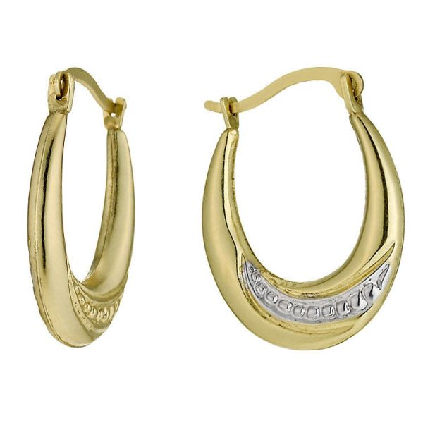 Together Silver amp 9ct Bonded Yellow Gold Creole Earrings RRP £50