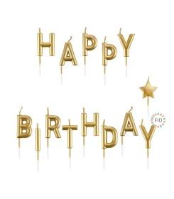 Vela Happy Birthday Dorado