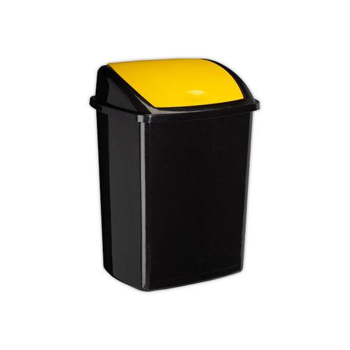 poubelle a couvercle basculant jaune 50 litres cep