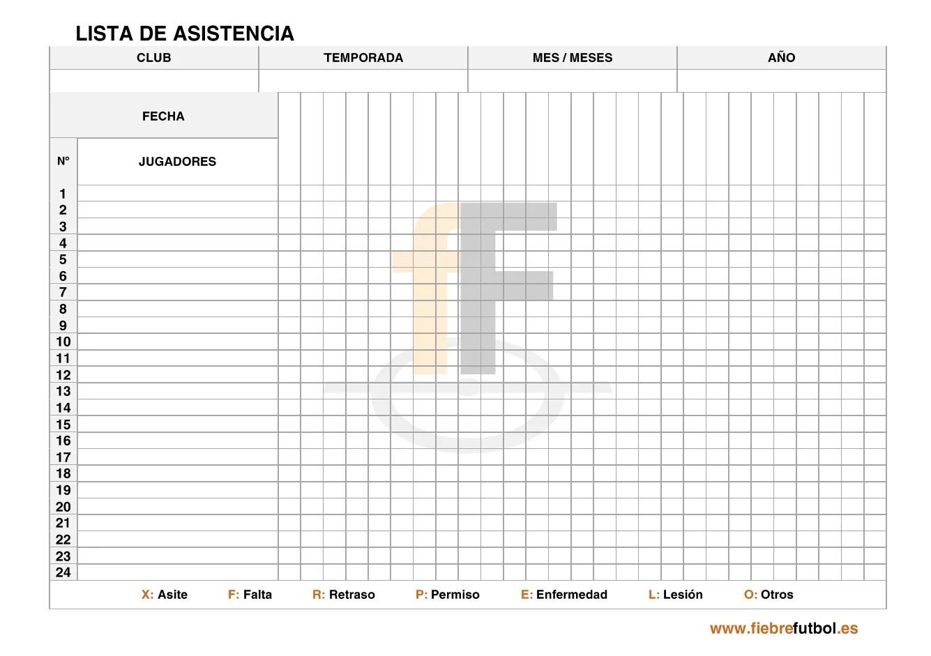 Lista Asistencia 01 FiebreFtbol