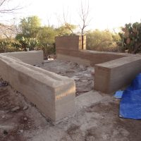 Rammed earth construction at a future ecocenter