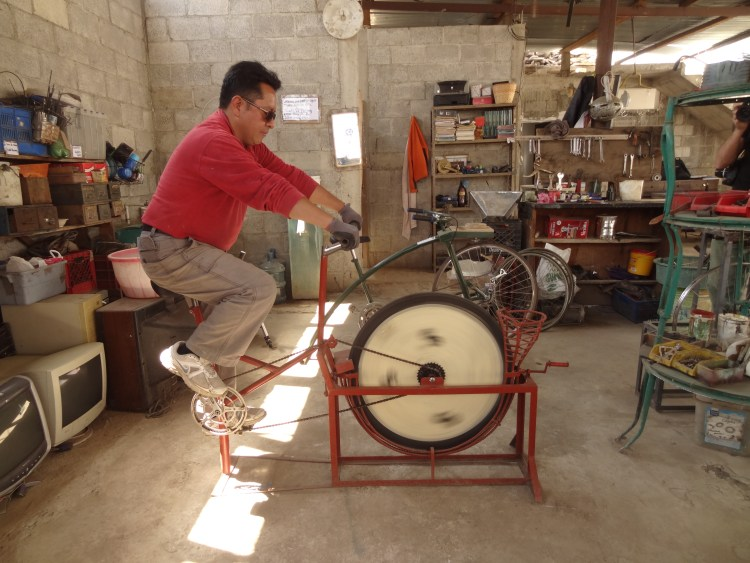 Demonstration of pedal-power at Maya Pedal