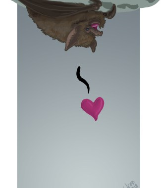 Little Brown Love Bat Print