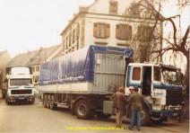 Lors d'une grève des transporteurs à Sarreguemines en 1983