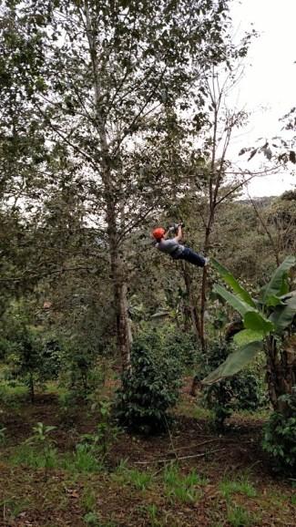 Me ziplining in Ecuador