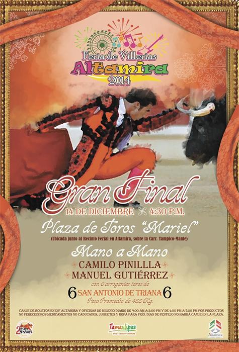 Cartel de la gran Final del 2° Certamen Novilleril Altamira 2014