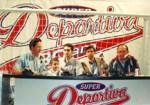 """Cuando la X.E.F.R. fue """"Súper Deportiva"""". Enrique Hernández Vázquez, Guillermo Treviño Villagómez, Novillero Sergio Velázquez, Matador Mario del Olmo y Enrique Hernández Flores, en el W.T.C. (Cd. de México)"""