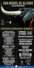 FERIA TAURINA INTERNACIONAL DE SAN MIGUEL DE ALLENDE, SEPTIEMBRE DE 2017