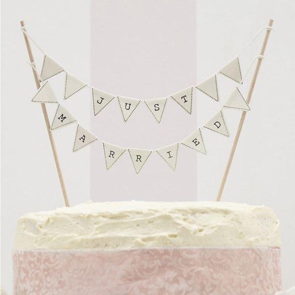 Topper tarta bandern Just Married por slo 825  Tienda