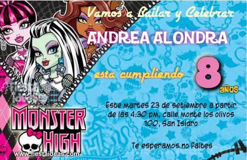 Invitaciones Monster High gratis