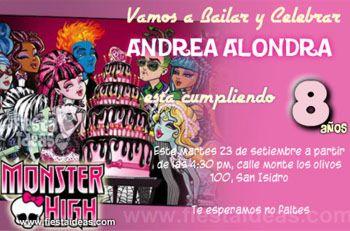 Invitaciones Monster High con torta de cumpleaños