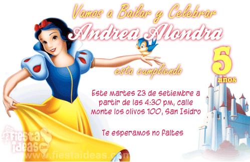 Invitaciones Blanca Nieves para imprimir
