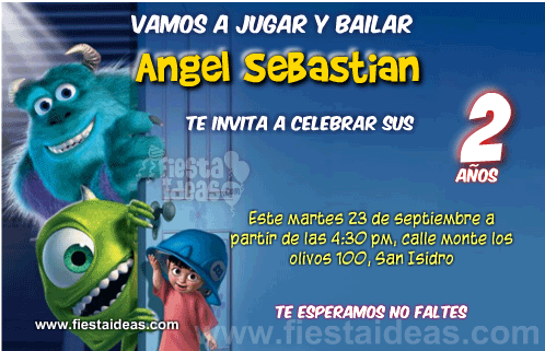 Invitaciones de Monster inc Gratis para imprimir