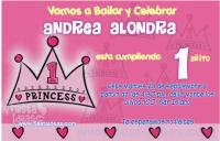 invitación primer cumpleaños princesa