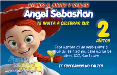 Invitaciones de Jessie la vaquerita Toy Story listas para imprimir
