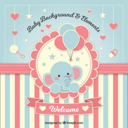 adorable invitacion background con elefante