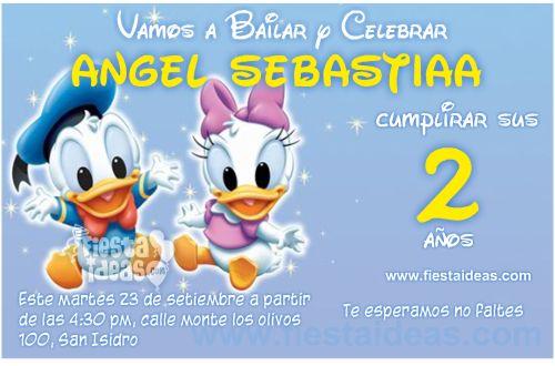 invitaciones de Baby Disney con el pato Donald y Daisy bebes