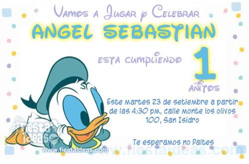invitaciones del pato Donald baby disney