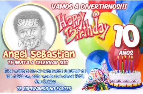 Invitaciones De Cumpleaños Con Foto Para Imprimir Gratis